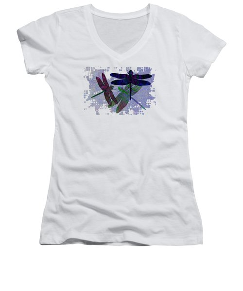 3 Dragonfly Women's V-Neck T-Shirt (Junior Cut) by Jack Zulli