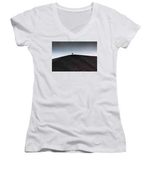 Women's V-Neck T-Shirt (Junior Cut) featuring the photograph Etna, The Volcano by Bruno Spagnolo