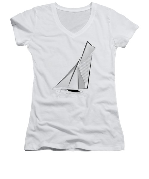 Falmouth Oyster Boat Women's V-Neck (Athletic Fit)