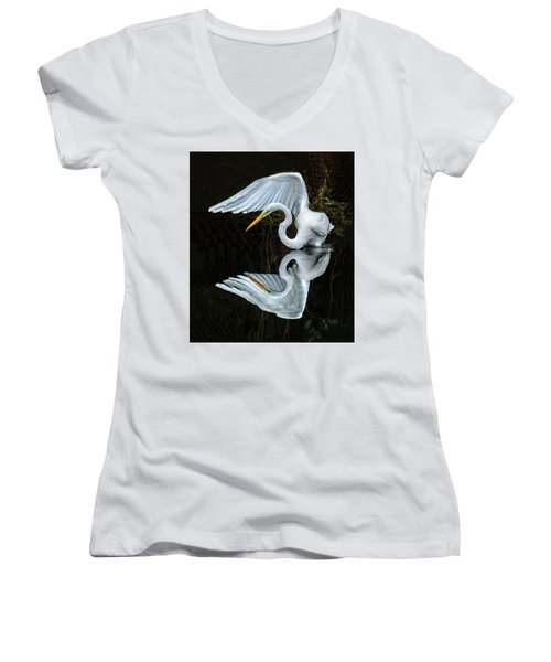 Great Egret Reflection Women's V-Neck