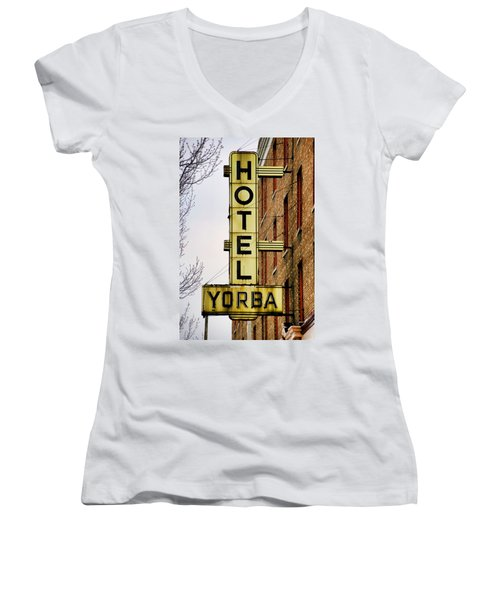 Hotel Yorba Women's V-Neck T-Shirt (Junior Cut) by Gordon Dean II