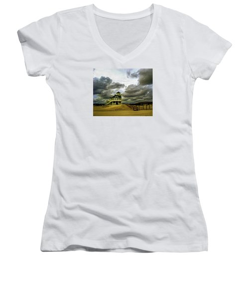 House At The End Of The Road Women's V-Neck T-Shirt (Junior Cut) by Gordon Engebretson