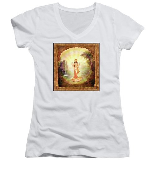 Lakshmi With The Waterfall Women's V-Neck T-Shirt (Junior Cut) by Ananda Vdovic
