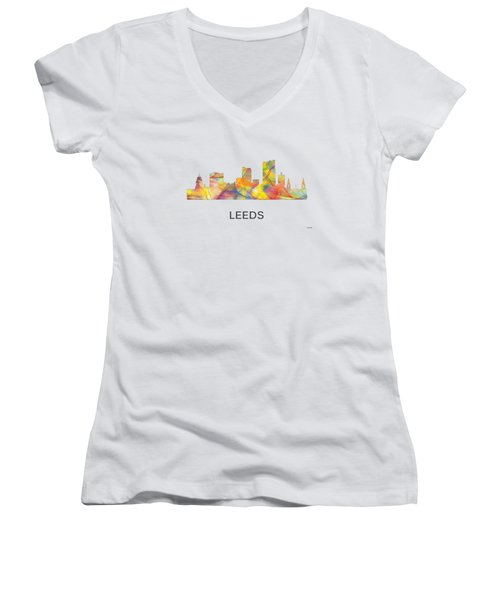 Leeds England Skyline Women's V-Neck T-Shirt (Junior Cut) by Marlene Watson