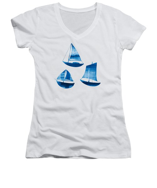 3 Little Blue Sailing Boats Women's V-Neck (Athletic Fit)