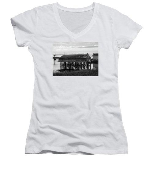 Lubec, Maine  Women's V-Neck T-Shirt (Junior Cut) by Trace Kittrell
