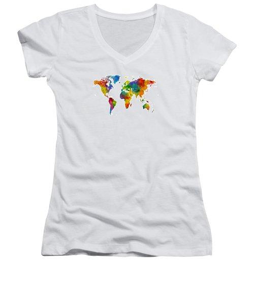 Map Of The World Map Watercolor Women's V-Neck T-Shirt (Junior Cut) by Michael Tompsett