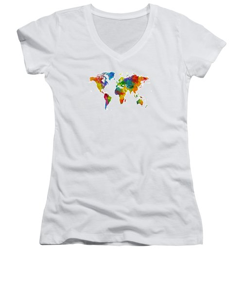 Map Of The World Map Watercolor Women's V-Neck (Athletic Fit)