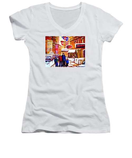 Montreal Street In Winter Women's V-Neck T-Shirt (Junior Cut) by Carole Spandau