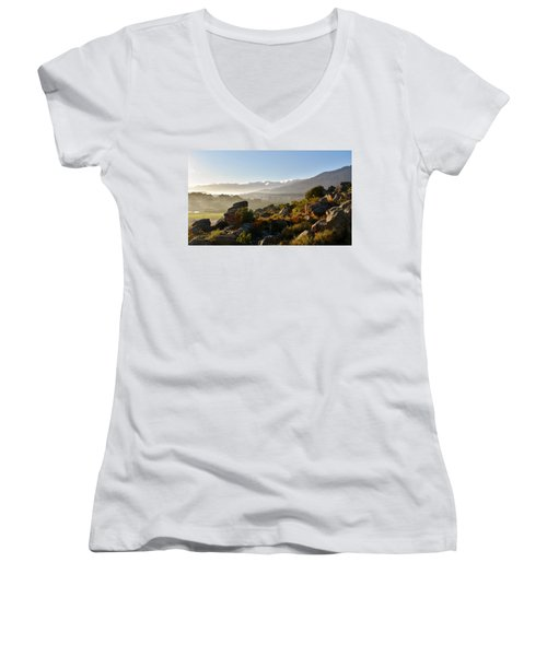 morning fog over Ceres Women's V-Neck T-Shirt