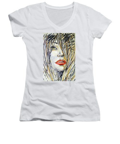 Red Lipstick 081208 Women's V-Neck T-Shirt (Junior Cut) by Selena Boron