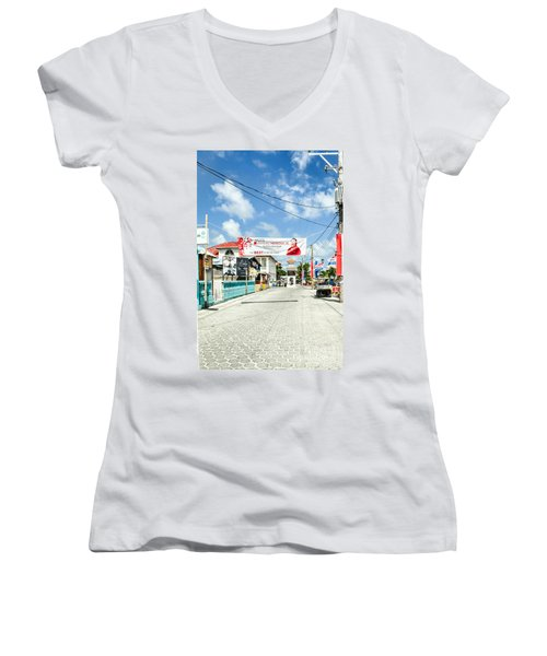 Women's V-Neck T-Shirt (Junior Cut) featuring the photograph Street Scene Of San Pedro by Lawrence Burry