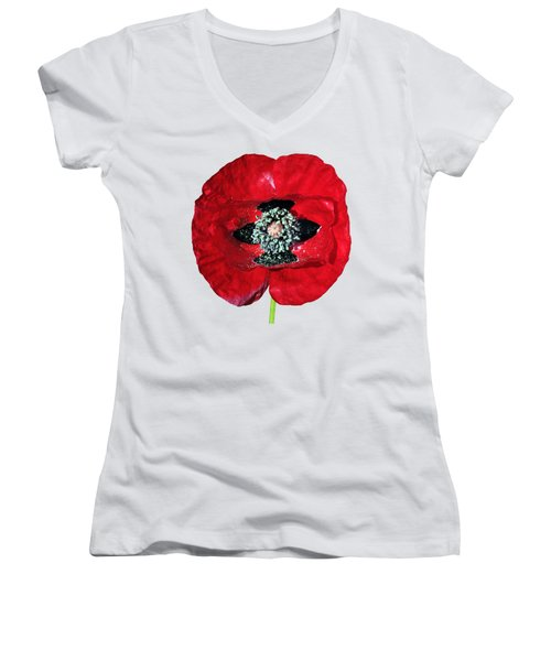 Poppy Flower Women's V-Neck T-Shirt
