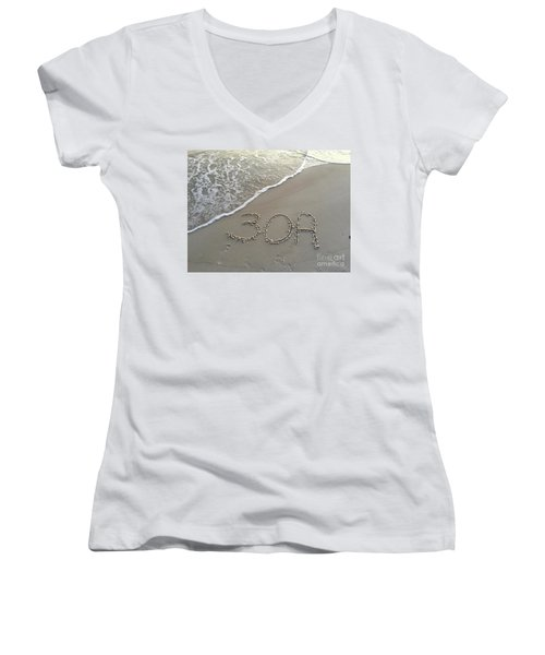 30a Beach Women's V-Neck T-Shirt (Junior Cut) by Megan Cohen