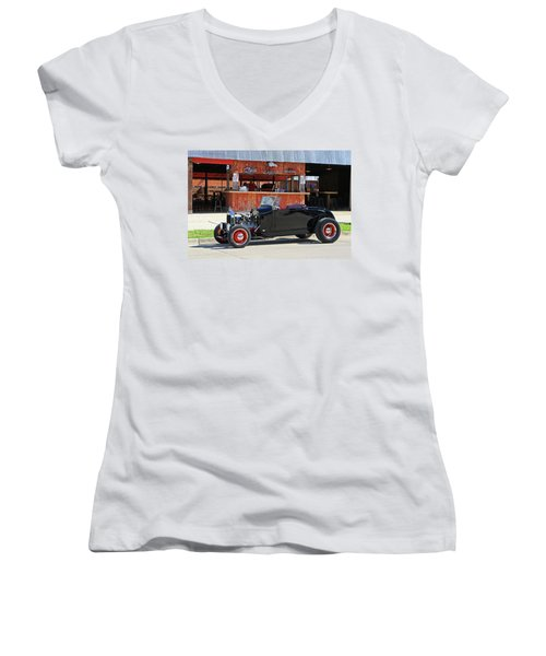 Women's V-Neck T-Shirt (Junior Cut) featuring the photograph 32 Roadster by Christopher McKenzie