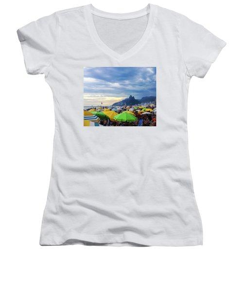 Rio De Janeiro Women's V-Neck T-Shirt (Junior Cut) by Cesar Vieira