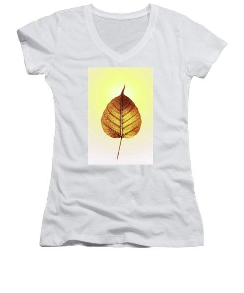 Pho Or Bodhi Women's V-Neck T-Shirt (Junior Cut) by Atiketta Sangasaeng