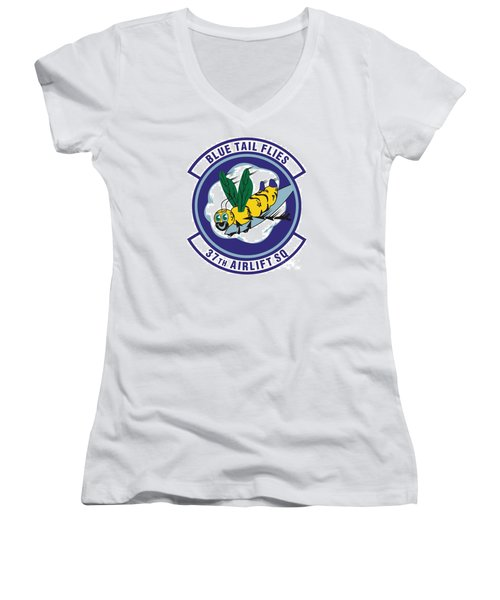 37th Tactical Airlift Squadron Women's V-Neck T-Shirt (Junior Cut) by David Bearden