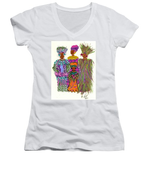 Women's V-Neck T-Shirt (Junior Cut) featuring the mixed media 3rd Generation - We Women Folk by Angela L Walker