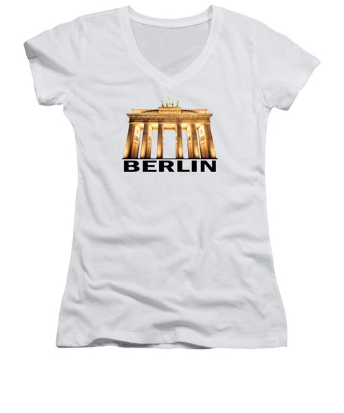 Brandenburg Gate Women's V-Neck T-Shirt (Junior Cut) by Julie Woodhouse