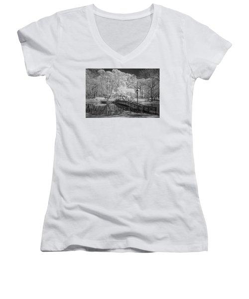 Bridge Over Water Women's V-Neck T-Shirt (Junior Cut) by Denis Lemay