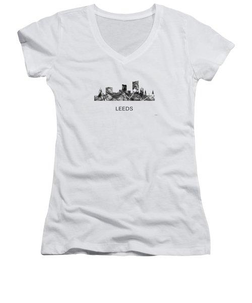 Leeds England Skyline Women's V-Neck T-Shirt
