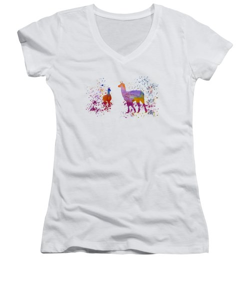 Llamas Women's V-Neck T-Shirt