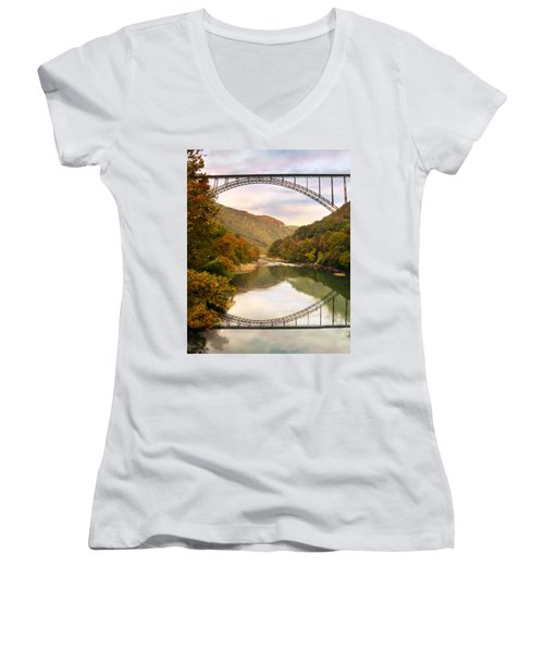 New River Gorge Bridge Women's V-Neck T-Shirt (Junior Cut) by Mary Almond