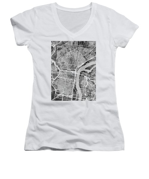 Philadelphia Pennsylvania Street Map Women's V-Neck