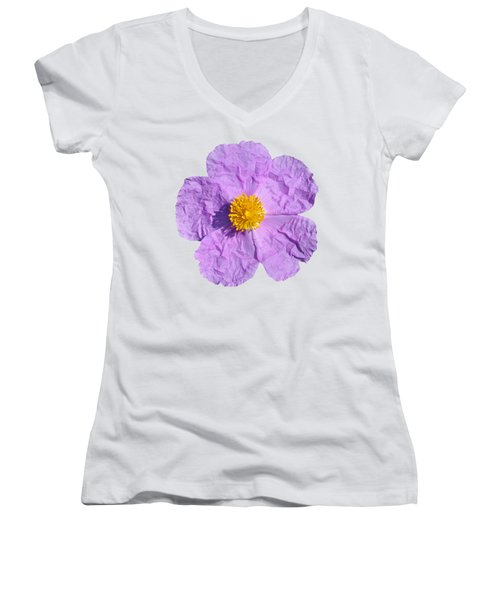 Women's V-Neck T-Shirt (Junior Cut) featuring the photograph Rockrose Flower by George Atsametakis