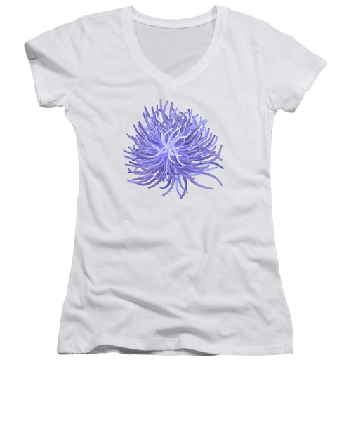 Sea Anemone Women's V-Neck T-Shirt (Junior Cut) by Michal Boubin
