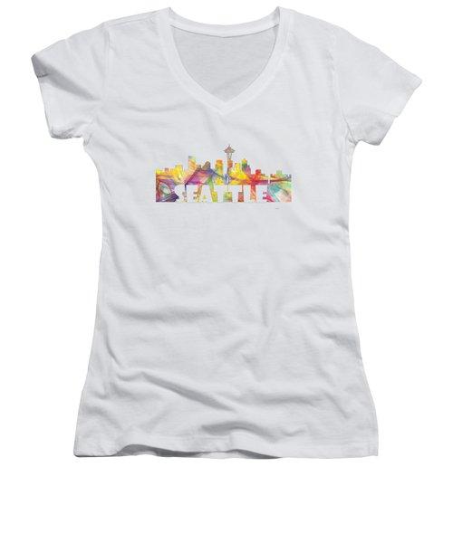 Seattle Washington Skyline Women's V-Neck T-Shirt (Junior Cut) by Marlene Watson