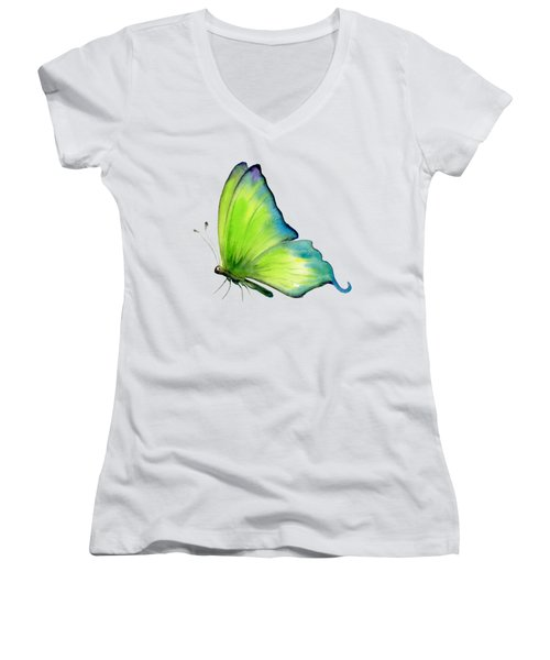 4 Skip Green Butterfly Women's V-Neck T-Shirt (Junior Cut) by Amy Kirkpatrick