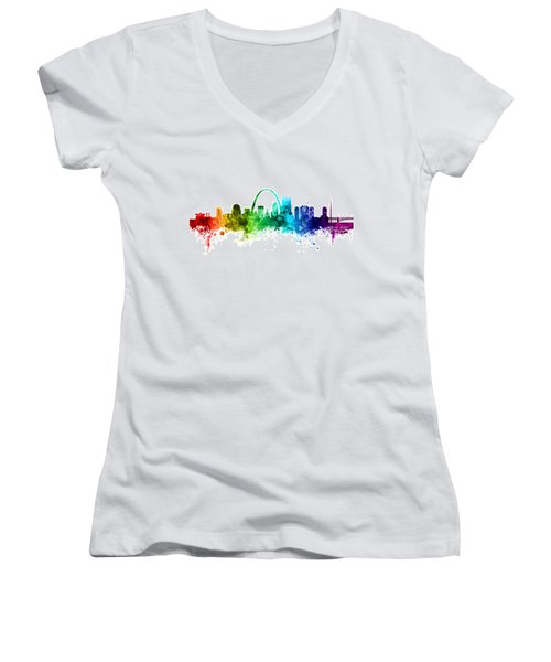 St Louis Missouri Skyline Women's V-Neck