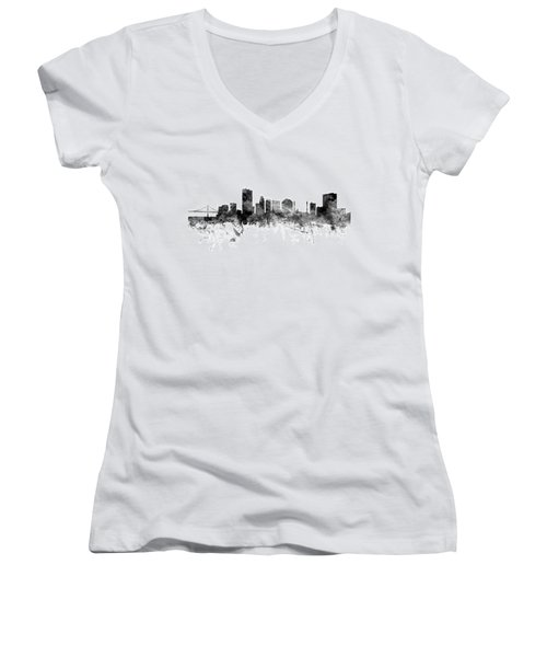 Toledo Ohio Skyline Women's V-Neck (Athletic Fit)