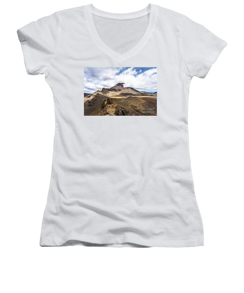 Tongariro Alpine Crossing In New Zealand Women's V-Neck (Athletic Fit)
