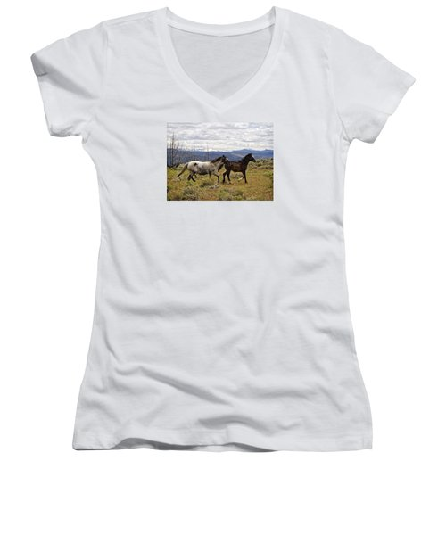 Wild Mustang Horses Women's V-Neck (Athletic Fit)