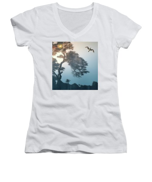 Women's V-Neck T-Shirt (Junior Cut) featuring the photograph 4408 by Peter Holme III