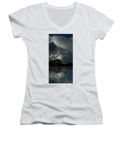 Women's V-Neck T-Shirt featuring the photograph 4477 by Peter Holme III