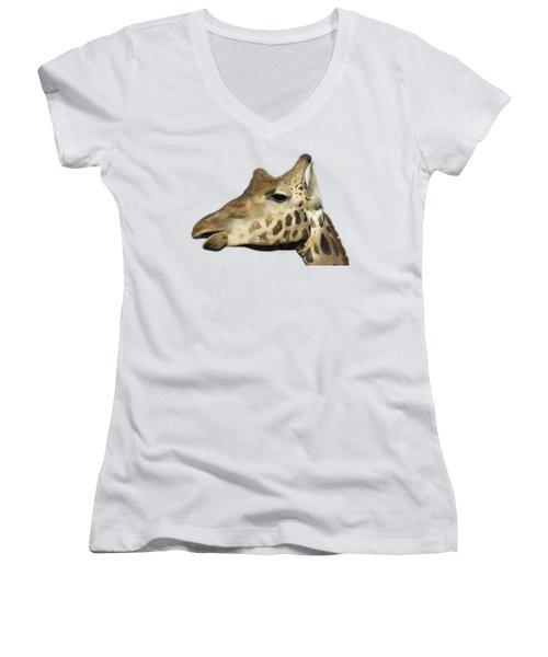 Women's V-Neck T-Shirt (Junior Cut) featuring the photograph Baringo Giraffe by George Atsametakis