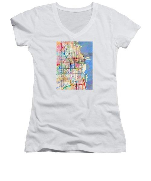 Chicago City Street Map Women's V-Neck T-Shirt (Junior Cut) by Michael Tompsett