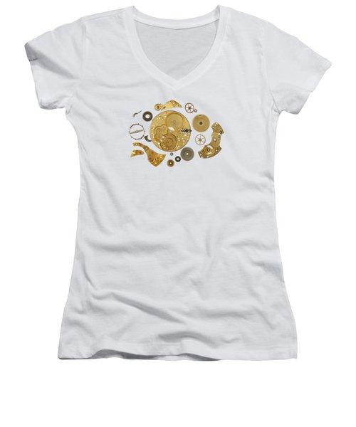 Women's V-Neck T-Shirt (Junior Cut) featuring the photograph Clockwork Mechanism by Michal Boubin