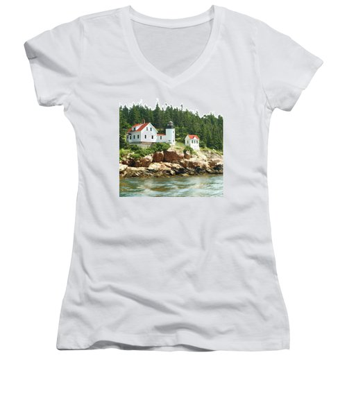 Lighthouse Women's V-Neck T-Shirt (Junior Cut) by Raymond Earley