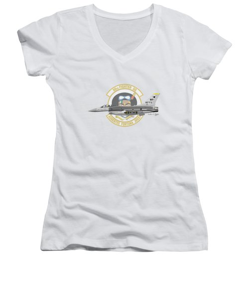 Lockheed Martin F-16c Viper Women's V-Neck T-Shirt (Junior Cut) by Arthur Eggers