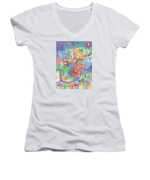 New Orleans Street Map Women's V-Neck (Athletic Fit)