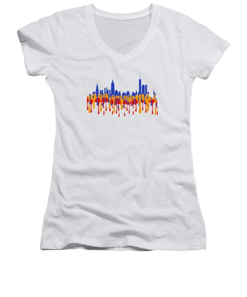 New York Ny Skyline Women's V-Neck T-Shirt (Junior Cut) by Marlene Watson