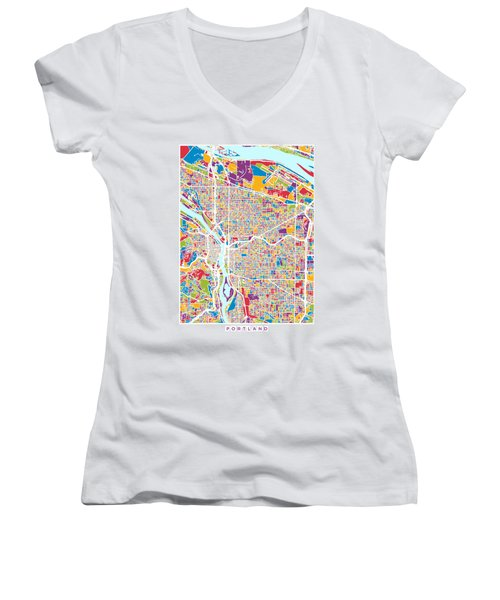 Portland Oregon City Map Women's V-Neck