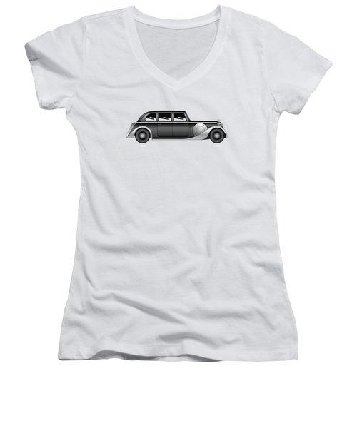 Women's V-Neck T-Shirt (Junior Cut) featuring the digital art Sedan - Vintage Model Of Car by Michal Boubin