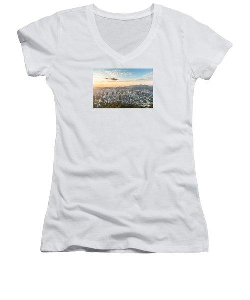 Sunset Over Seoul Women's V-Neck T-Shirt
