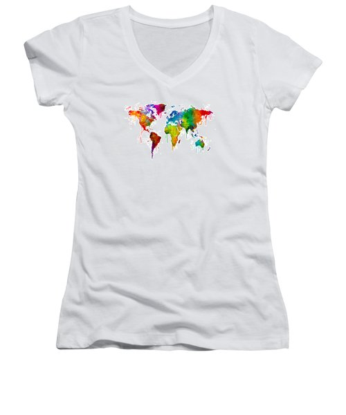 Watercolor Map Of The World Map Women's V-Neck T-Shirt